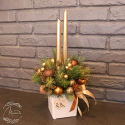 Новогодняя композиция с 2 свечами