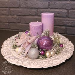 """Новогодняя композиция на тарелке №17 """"Фиолет"""""""