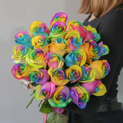 Букет 25 радужных роз (Эквадор 50 см)