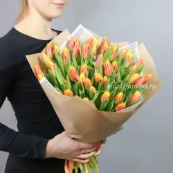 Букет тюльпаны красно-желтые 51 шт