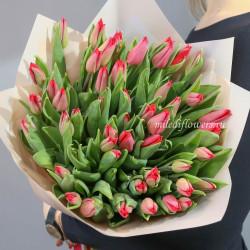 Букет тюльпаны красные 51 шт