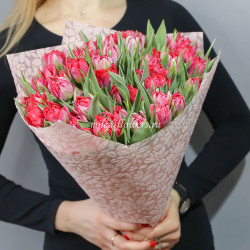 Букет тюльпаны красные махровые 51 шт