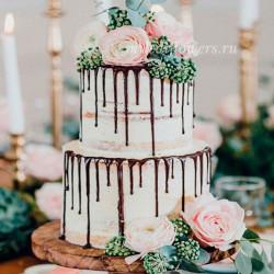 Цветочное оформление торта (2 яруса)