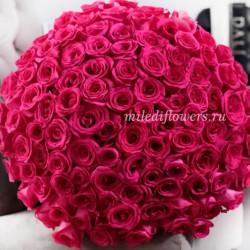 Букет 101 розовая роза Пинк Флойд (Эквадор 40 см)