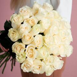Хит! Букет 25 белых роз Мондиаль (Эквадор 50 см)